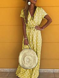 cheap -Women's Maxi Tunic Dress - Short Sleeves Polka Dot V Neck Yellow Blushing Pink Gray Light Blue S M L XL XXL