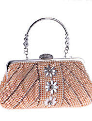 cheap -Women's Bags Polyester Evening Bag Pearls Crystals Solid Color Wedding Bags Wedding Party Event / Party Champagne Beige