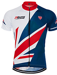 cheap -21Grams Men's Short Sleeve Cycling Jersey Terylene Sky Blue+White UK National Flag Bike Top Mountain Bike MTB Road Bike Cycling UV Resistant Breathable Quick Dry Sports Clothing Apparel / Race Fit
