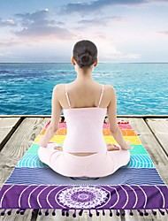 cheap -Yoga Mat Yoga Towel 150*75 cm Eco-friendly Non Slip Durable Polyester Superfine fiber For Yoga Rainbow