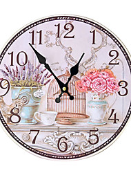 cheap -1pcs Vintage Bird Cage Floral Painted Frameless Decorative Wall Clock
