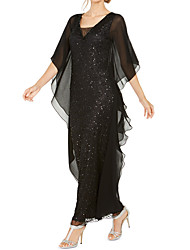 cheap -A-Line Mother of the Bride Dress Elegant V Neck Ankle Length Chiffon Half Sleeve with Ruching 2020