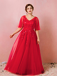 cheap -A-Line Plus Size Red Engagement Prom Dress V Neck Half Sleeve Floor Length Satin Tulle with Appliques 2020 / Illusion Sleeve