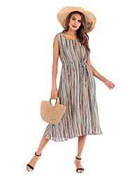 cheap -Women's Green Dress Boho Street chic Shift Striped S M