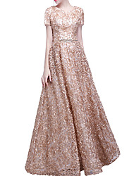 cheap -A-Line Pink Spring Engagement Prom Dress V Neck Short Sleeve Floor Length Polyester with Appliques 2020