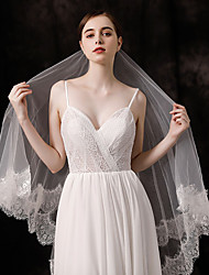 cheap -Two-tier Lace Applique Edge Wedding Veil Fingertip Veils with Appliques / Solid 59.06 in (150cm) Tulle
