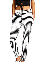 cheap -Women's High Waist Yoga Pants Drawstring Cropped Pants Breathable Stripes Gray+White Black+Gray Gym Workout Running Fitness Sports Activewear Stretchy