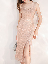 cheap -A-Line Glittering Pink Wedding Guest Cocktail Party Dress Spaghetti Strap Sleeveless Knee Length Sequined with Split 2020