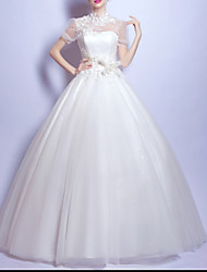 cheap -Ball Gown Wedding Dresses Jewel Neck Sweep / Brush Train Chiffon Tulle Short Sleeve Formal Illusion Detail Plus Size Cute with Draping Lace Insert Appliques 2020