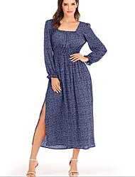 cheap -Women's A Line Dress - Print Maxi Black Wine Yellow S M L XL