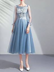 cheap -A-Line Jewel Neck Tea Length Lace / Tulle Bridesmaid Dress with Appliques / Lace