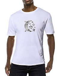 cheap -Men's Daily Going out Vintage / Basic T-shirt - Galaxy / Abstract Black & White, Print Black