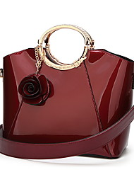 cheap -Women's Zipper Polyester Top Handle Bag Solid Color Black / Blue / Red
