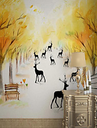 cheap -Custom Self-adhesive Mural Wallpaper Hand-painted Maple Deer Suitable For Bedroom Living Room Coffee Shop Restaurant Hotel Wall Decoration Art
