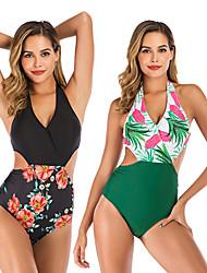 cheap -Women's Beach Girl Retro Vintage 1980s Bikini Peplum Swimsuit Monokini Spandex Tactel Printing Black Green Leotard / Onesie