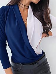 Недорогие -Жен. Контрастных цветов Однотонный Пэчворк Свободный силуэт Рубашка Элегантный стиль Уличный стиль Повседневные На выход V-образный вырез Винный / Черный / Синий / Серый