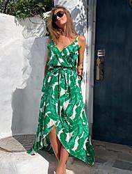 cheap -Women's Green Dress A Line Geometric Strap S M