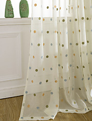 cheap -Two Panel Modern Minimalist Style Dot Embroidery Screen Curtain Translucent Window Screen Living Room Bedroom
