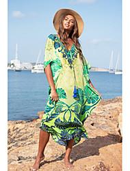 cheap -Women's Loose Dress - Print Green One-Size