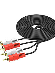 cheap -2RCA Male to 2 RCA Male Audio Video Cable RCA Audio Splitter Cable for DVD Sound TV box Louder 3M