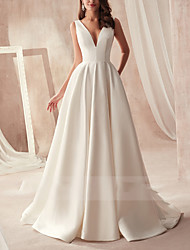cheap -A-Line V Neck Sweep / Brush Train Satin Sleeveless Formal Wedding Dresses with Draping 2020