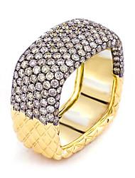 Недорогие -Мужчина женщина Кольцо Belle Ring Цирконий 1шт Золотой Медь Позолота Квадратный Массивный Роскошь Вечерние Подарок Бижутерия геометрический Пригодно для носки