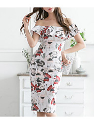 cheap -Women's White Dress Sheath Print Off Shoulder S M