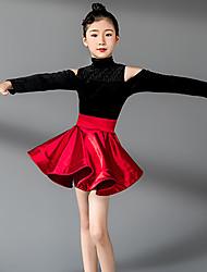 cheap -Latin Dance Dresses Girls' Training / Performance Terylene / Orlon Ruching / Split Joint / Gore Long Sleeve High