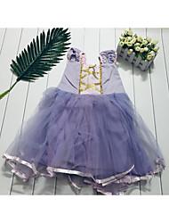 cheap -Toddler Girls' Sweet Butterfly Christmas Patchwork Sleeveless Knee-length Dress Purple