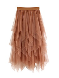 cheap -Women's Swing Skirts - Solid Colored Blushing Pink Khaki White One-Size