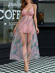 Недорогие -женская радуга с глубоким v-образным вырезом в сеточку макси платье с ремешком mm0521