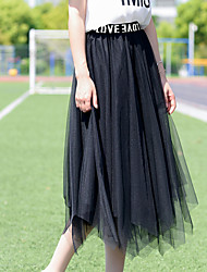cheap -Women's Dress / Going out Active / Street chic A Line / Swing Skirts - Solid Colored Tulle Black One-Size / Loose