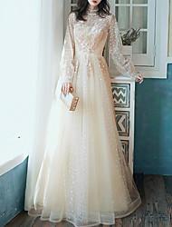 Недорогие -Аппликации A-Line Элегантный цветочный длинный рукав иллюзий высокой шеи длиной до пола, тюль свадебное платье для гостей выпускного вечера