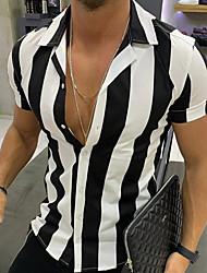 cheap -Men's Striped Shirt Sports Black / Yellow / Orange / Short Sleeve