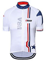 Недорогие -21Grams Муж. С короткими рукавами Велокофты Синий / белый Американский / США Флаги Велоспорт Джерси Верхняя часть Горные велосипеды Шоссейные велосипеды Устойчивость к УФ Дышащий Быстровысыхающий