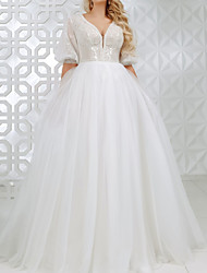 cheap -A-Line Wedding Dresses V Neck Sweep / Brush Train Lace Tulle Sequined Half Sleeve Country Plus Size with Appliques 2020
