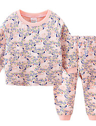 cheap -2 Piece Kids Toddler Girls' Active Street chic Unicorn Print Fairytale Theme Sporty Sleepwear Blushing Pink