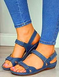 cheap -Women's Sandals Flat Sandal Summer Flat Heel Peep Toe Daily PU Red / Blue / Brown