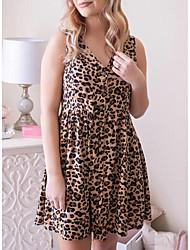 cheap -Women's A Line Dress - Sleeveless Leopard V Neck Brown S M L XL XXL XXXL XXXXL