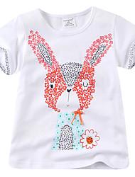 Недорогие -малыш Девочки Активный Богемный Rabbit С принтом С короткими рукавами Футболка Белый