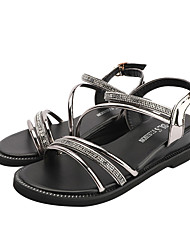 cheap -Women's Sandals Wedge Heel Open Toe Rhinestone PU Casual Summer Silver / Black
