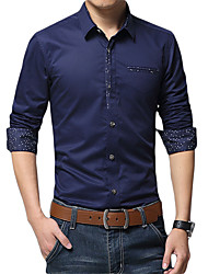 cheap -Men's Daily Work Business / Basic Shirt - Solid Colored Royal Blue