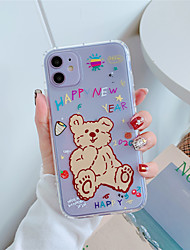 cheap -Case For Apple iPhone 11  11 Pro 11 Pro Max English bear pattern High penetration TPU material Painting process scratch proof Airbag drop prevention phone case