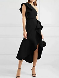 cheap -Sheath / Column Sexy Black Homecoming Cocktail Party Dress One Shoulder Sleeveless Asymmetrical Spandex with Ruffles Split 2020
