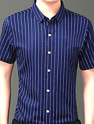 cheap -Men's Daily Work Business / Basic Shirt - Striped / Geometric Blue & White / Red, Print Red
