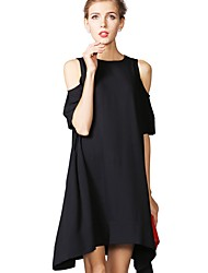 cheap -Women's Loose Dress - Half Sleeve Solid Color Loose White Black Red XS S M L XL XXL XXXL XXXXL