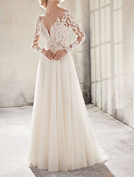 cheap -A-Line Wedding Dresses Jewel Neck Sweep / Brush Train Lace Tulle Long Sleeve Country Plus Size with Lace Appliques 2020 / Illusion Sleeve