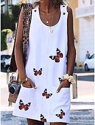 cheap -Women's Shift Dress - Sleeveless Animal Loose White Purple Red Yellow Light Blue S M L XL XXL XXXL XXXXL XXXXXL