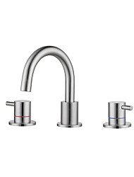 cheap -Bathroom Sink Faucet - Nickel Brushed Finish Dual Handles Three Holes Basin Sink Mixer Tap Lavatory Faucet