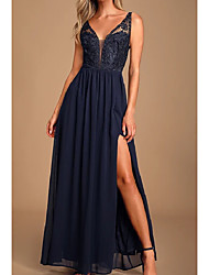 cheap -A-Line V Neck Floor Length Chiffon / Lace / Shantung Bridesmaid Dress with Lace / Ruching